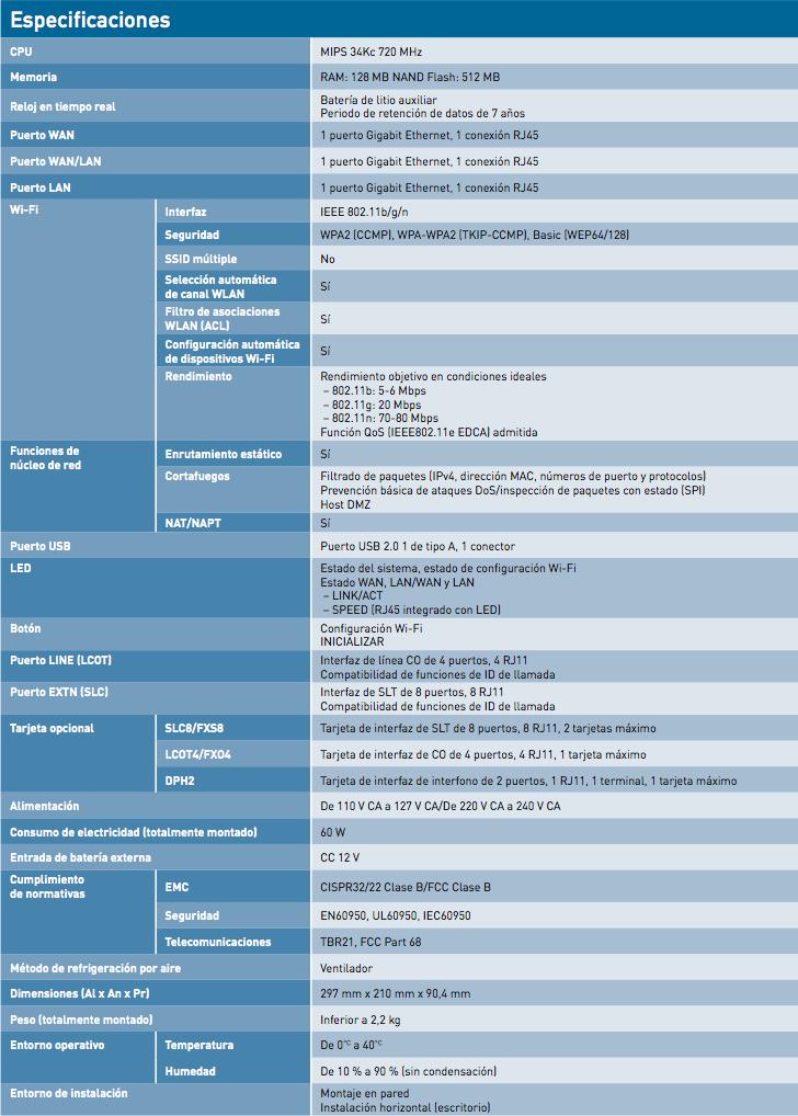 especificaciones centralita kx-hts32